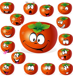 Persimmon fruit cartoon with many expressions vector