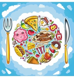 Planet of food vector