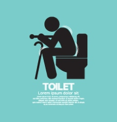 Elderly with walking stick toilet sign vector