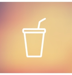 Disposable cup with lid and straw thin line icon vector
