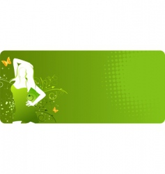 Green banner with woman silhouette vector