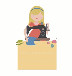 Card with sewing girl vector