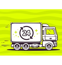 Truck free and fast delivering 24 hours t vector