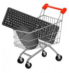 Shopping cart mouse vector