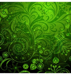 Green vivid floral pattern vector