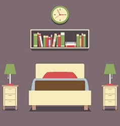 Flat design single bed with lamps vector