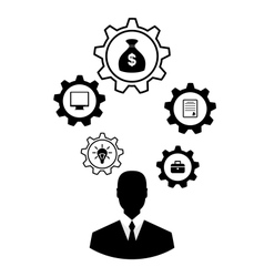 Businessman head with cogwheels brain storming vector