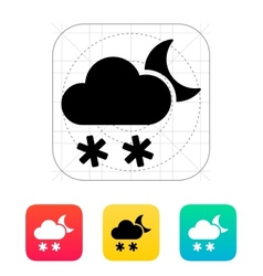 Night snowfall weather icon vector
