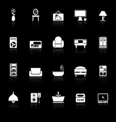Home furniture icons with reflect on black vector