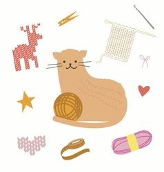 Cat and knit vector