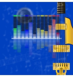 Musical design equalizer and guitar strings vector