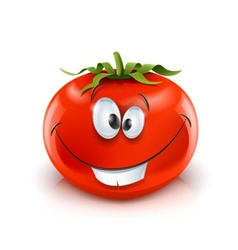 Smiling red ripe tomato vector