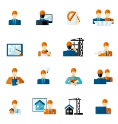 Engineer icons flat vector