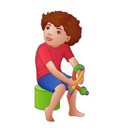 Cartoon playing boy vector