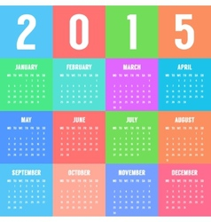 European colorful calendar of 2015 year vector