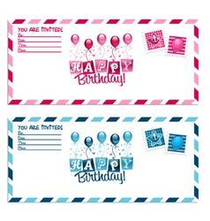 Birthday party invitation envelope vector