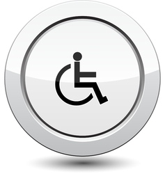 Button with man in wheelchair vector