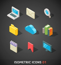 Flat isometric icons set 1 vector