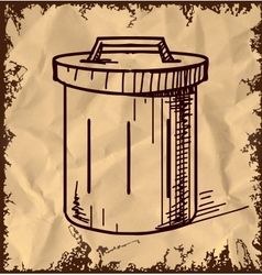 Outdoor trash bin isolated on vintage background vector
