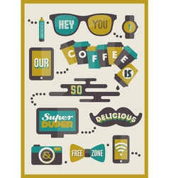 Hipster cafe menu - set of design elements vector