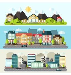 Landscape city banner flat vector