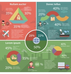 Worldwide logistic infographic flat poster vector