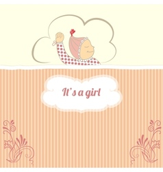 Baby shower card with little girl sleep vector