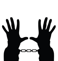 Hands in handcuffs silhouette vector