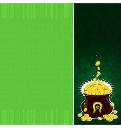 Green patrick background with shamrock and pot vector