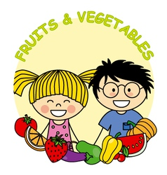 Child with fruit and vegetables vector