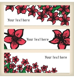 Set of horizontal banners with doodling flowers vector