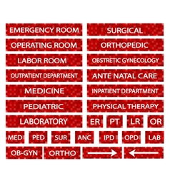 A set of hospital sign and medical abbreviations vector