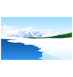 Panoramic view snowcapped landscape vector