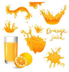 Orange juice splashes vector