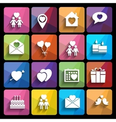 Love icons set in flat style vector