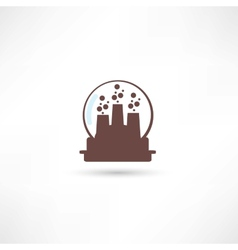Brown glass sphere with city inside vector