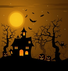 Halloween haunted castle with bats background vector
