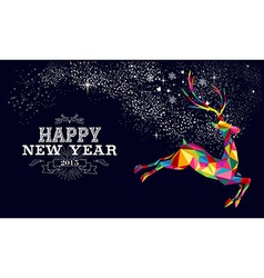 New year 2015 reindeer poster design vector