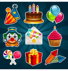 Happy birthday party icons vector