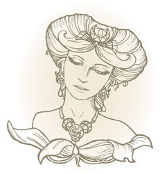Graphic sketch of girl head in vintage style vector
