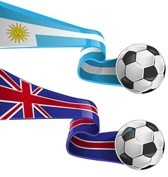 Uruguay england flag with soccer ball vector
