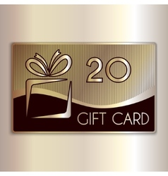 Abstract gift card for twenty in gold and vector