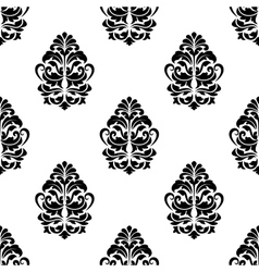 White and black classic floral seamless pattern vector