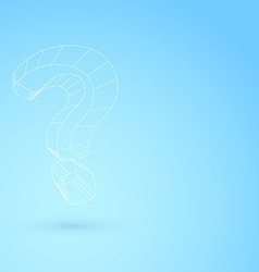 Hanging question mark wireframe object background vector