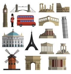 Travel landmark flat icons set vector