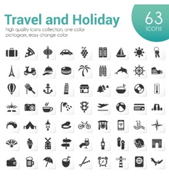 Travel and holiday icons vector