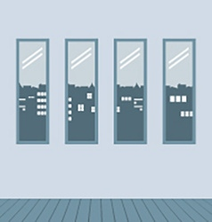 Four glasses windows with wooden floor vector