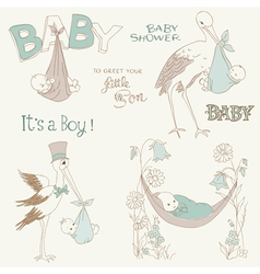 Vintage baby boy shower vector
