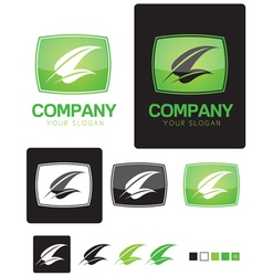 Green leaf company identity logo template vector