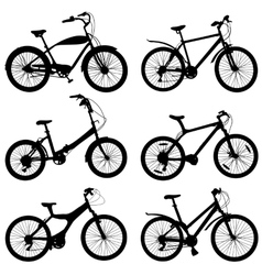 Set of silhouettes of different bikes vector